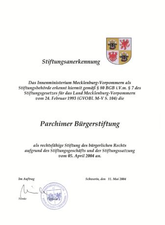 Stiftungsurkunde der Parchimer Bürgerstiftung